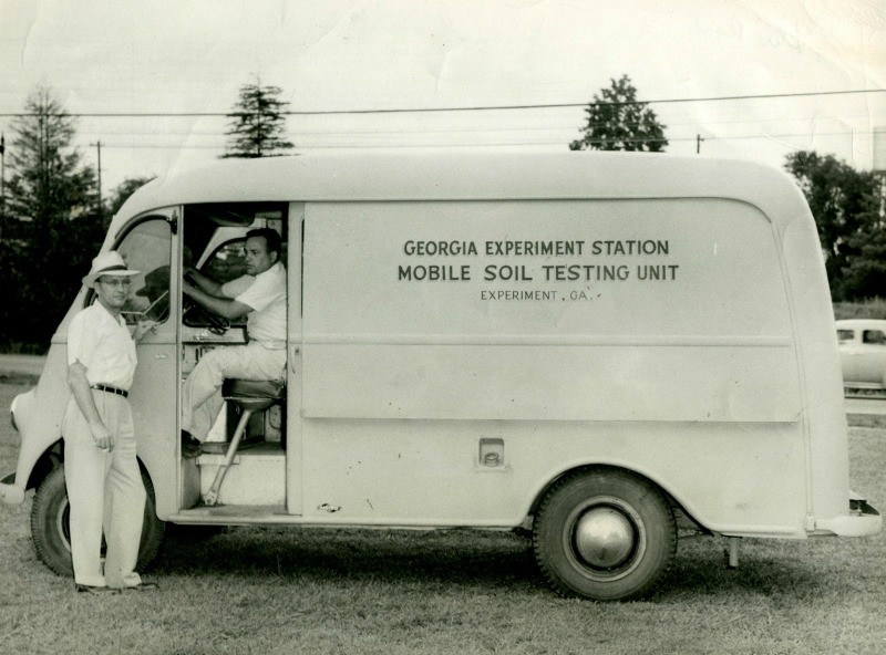 Georgia Experiment Station Mobile Soil Testing Unit Experiment, GA Cowart,  Director Olson, Dirver