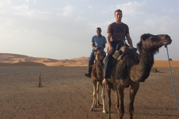 Chris Reynolds on camel in Morocco